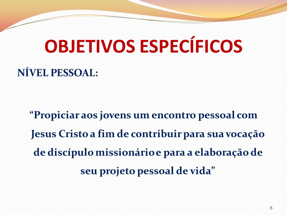 OBJETIVOS ESPECÍFICOS NÍVEL ECLESIAL: Possibilitar aos jovens uma participação ativa na comunidade eclesial, que lhes seja apoio e sustento em sua caminhada, para que eles possam contribuir com seus dons e talentos 7