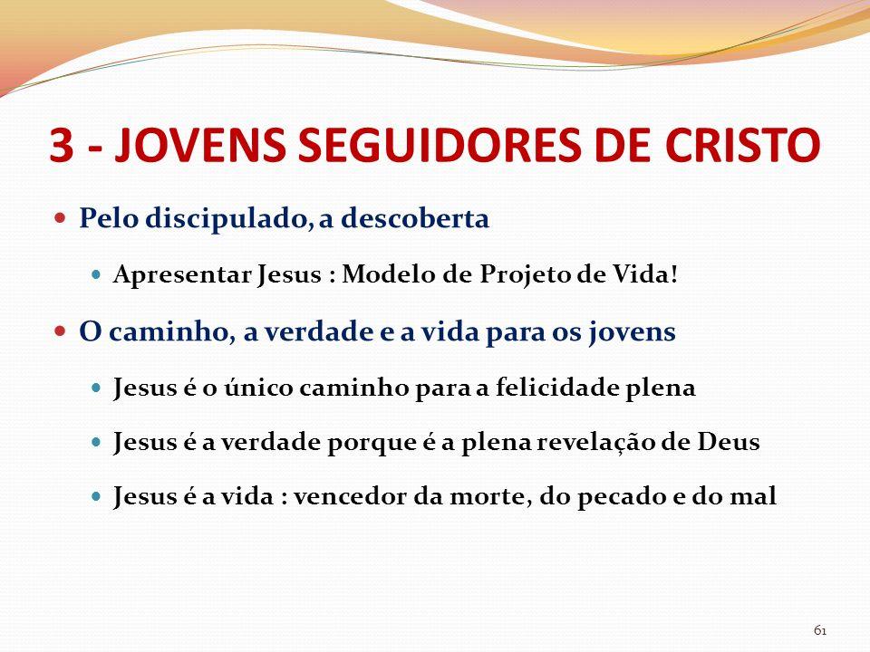 3 - JOVENS SEGUIDORES DE CRISTO Pelo discipulado, a descoberta Apresentar Jesus : Modelo de Projeto de Vida! O caminho, a verdade e a vida para os jov