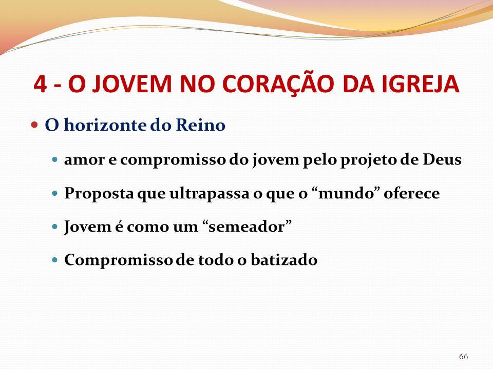4 - O JOVEM NO CORAÇÃO DA IGREJA O horizonte do Reino amor e compromisso do jovem pelo projeto de Deus Proposta que ultrapassa o que o mundo oferece J