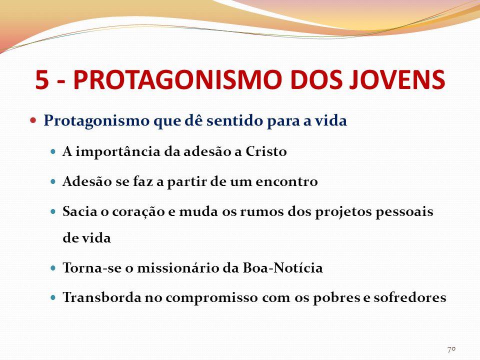 5 - PROTAGONISMO DOS JOVENS Protagonismo que dê sentido para a vida A importância da adesão a Cristo Adesão se faz a partir de um encontro Sacia o cor