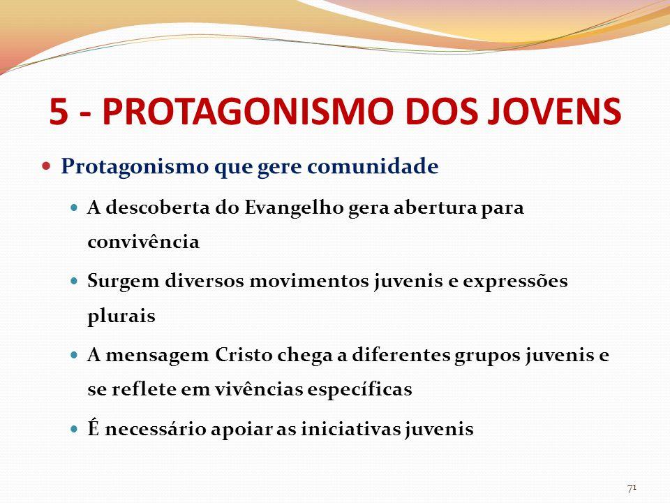 5 - PROTAGONISMO DOS JOVENS Protagonismo que gere comunidade A descoberta do Evangelho gera abertura para convivência Surgem diversos movimentos juven