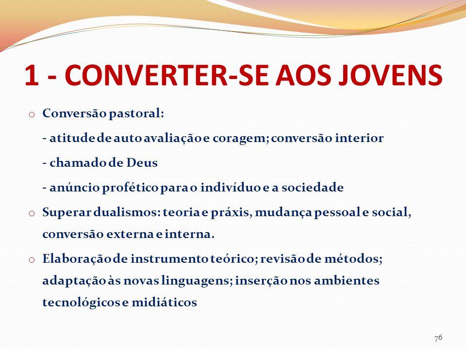 1 - CONVERTER-SE AOS JOVENS o Conversão pastoral: - atitude de auto avaliação e coragem; conversão interior - chamado de Deus - anúncio profético para