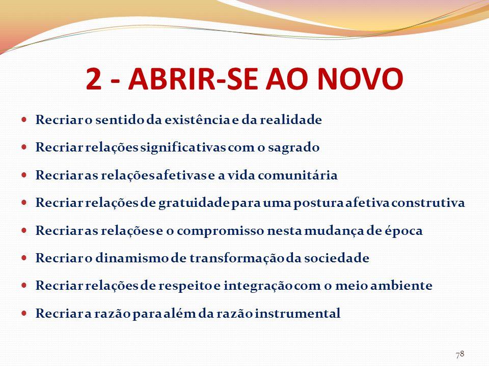 2 - ABRIR-SE AO NOVO Recriar o sentido da existência e da realidade Recriar relações significativas com o sagrado Recriar as relações afetivas e a vid