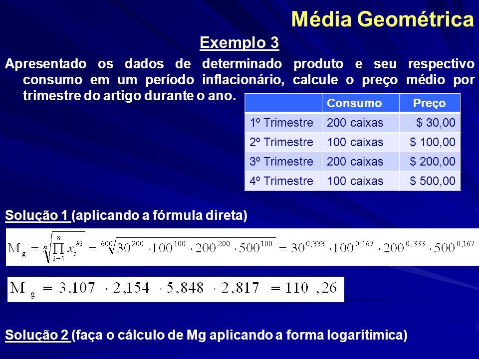 Média Geométrica Exemplo 3 Apresentado os dados de determinado produto e seu respectivo consumo em um período inflacionário, calcule o preço médio por