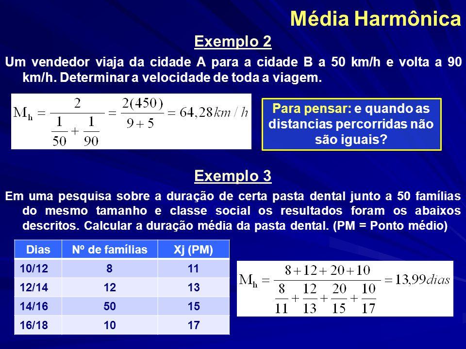 Média Harmônica Exemplo 2 Um vendedor viaja da cidade A para a cidade B a 50 km/h e volta a 90 km/h. Determinar a velocidade de toda a viagem. Para pe