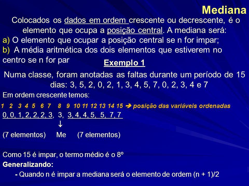 Mediana Colocados os dados em ordem crescente ou decrescente, é o elemento que ocupa a posição central. A mediana será: a) O elemento que ocupar a pos