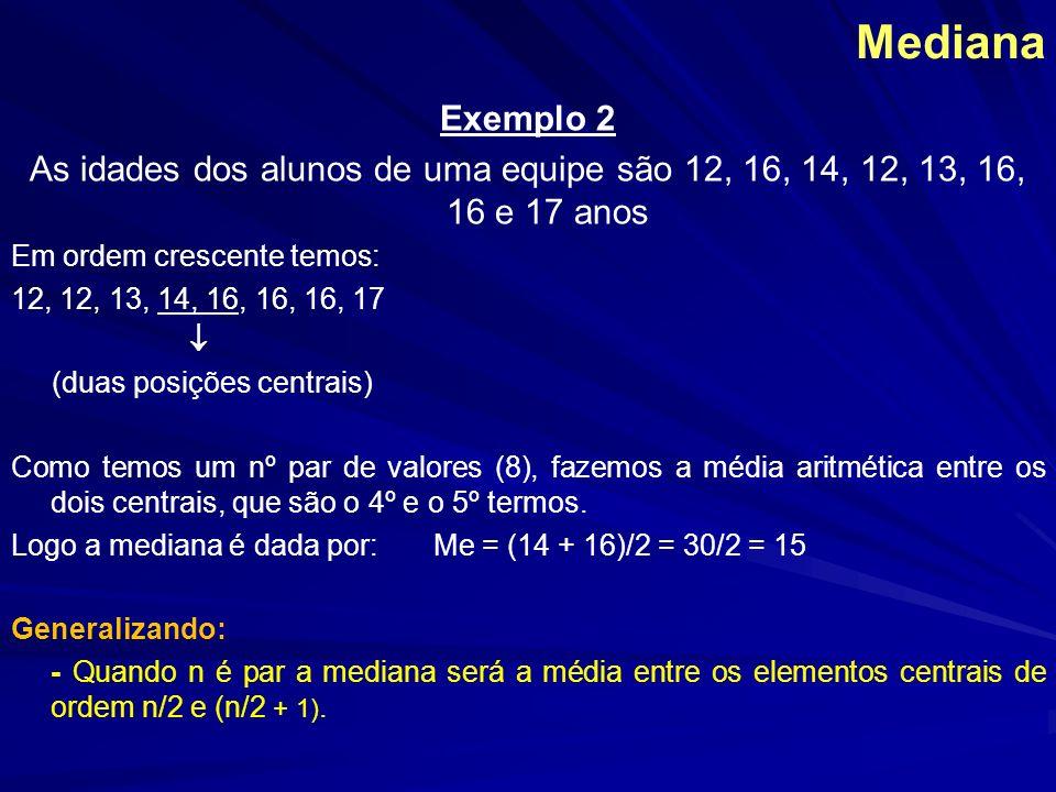 Mediana Exemplo 2 As idades dos alunos de uma equipe são 12, 16, 14, 12, 13, 16, 16 e 17 anos Em ordem crescente temos: 12, 12, 13, 14, 16, 16, 16, 17