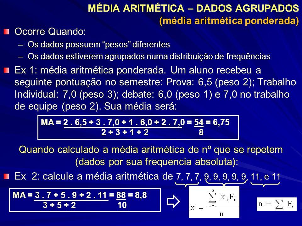 MÉDIA ARITMÉTICA – DADOS AGRUPADOS (média aritmética ponderada) Exemplo dada a seguinte distribuição amostral: Determine a média Dispositivo Prático: Xi1234 Fi1351 XiFixiFi 111 236 3515 414 1026 Exemplo: Determine o peso médio de um grupo de pessoas (média de uma distribuição populacional) Peso (kg) 40 a 44 44 a 48 48 a 52 52 a 56 56 a 60 Fi13763 ClassesFi Xi (PM) 40 |--- 44142 44 |--- 48346 48 |--- 52750 52 |--- 56654 56 |--- 60358 Total20 xiFi 42 138 350 324 174 1028