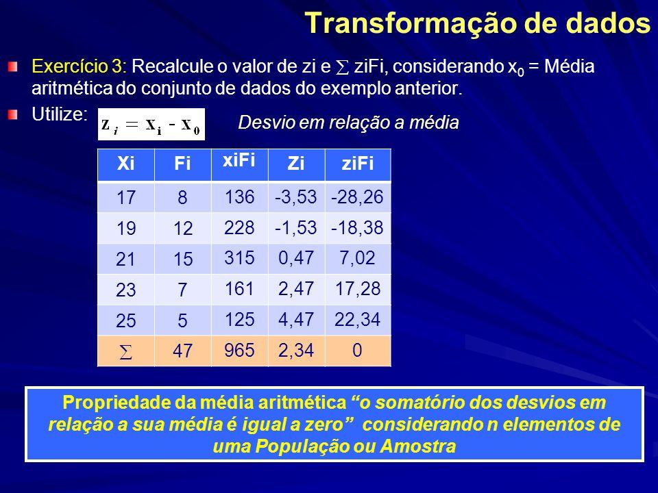 Mediana e Moda a partir das tabelas de frequencias e dados agrupados em classes Exemplo Anterior: Pesquisa sobre o peso (kg) de um grupo de pessoas MA = 1028/20 = 51,4 kg Moda: A maior frequencia, 7, indica que o intervalo 48 |--- 52, representado pelo ponto médio (PM = 50) logo Mo = 50 ClassesFi 40 |--- 441 44 |--- 483 48 |--- 527 52 |--- 566 56 |--- 603 Total20 Xi (PM)xiFi 42 46138 50350 54324 58174 1028 Mediana: - Total das freqüências é par (20); - Valores centrais estão na 10ª e 11ª posição - Com auxílio da tabela abaixo - Me = 50 + 50 = 50 kg 2 Fac: freq.