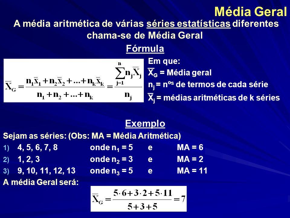Média Geométrica Fórmula Em que: Mg = Média geométrica n = F i x 1, x 2, x 3,..., x n = valores de X, associados às frequencias absolutas (F 1, F 2,...F n ) A média geométrica é muito utilizada para resolver problemas de que envolvem calculo de áreas ou quando os dados se desenvolvem segundo uma progressão geométrica.
