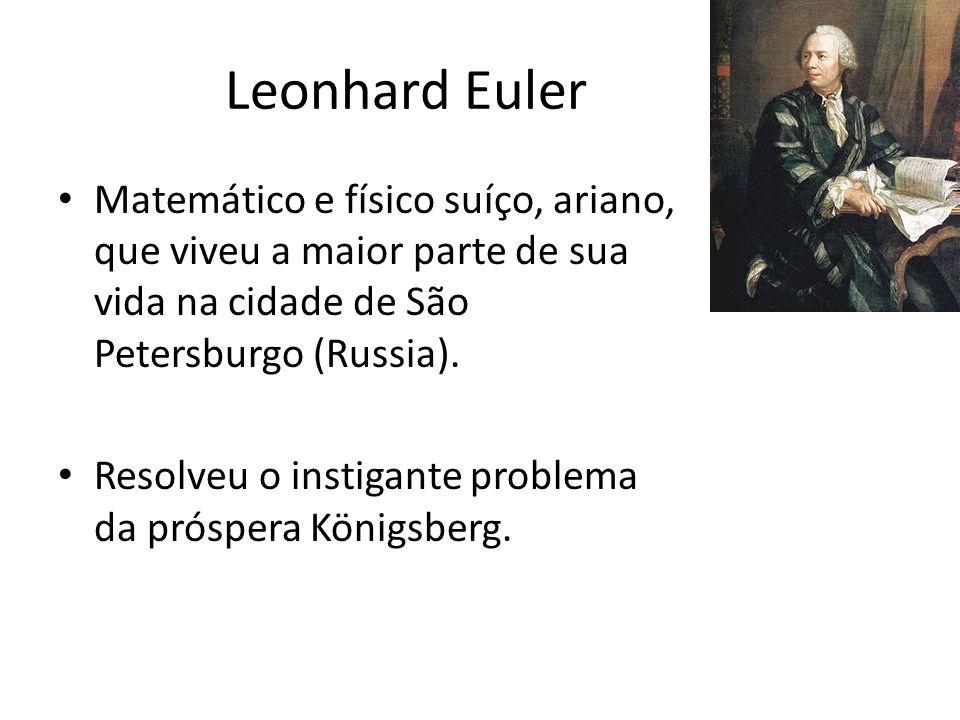 Leonhard Euler Matemático e físico suíço, ariano, que viveu a maior parte de sua vida na cidade de São Petersburgo (Russia). Resolveu o instigante pro