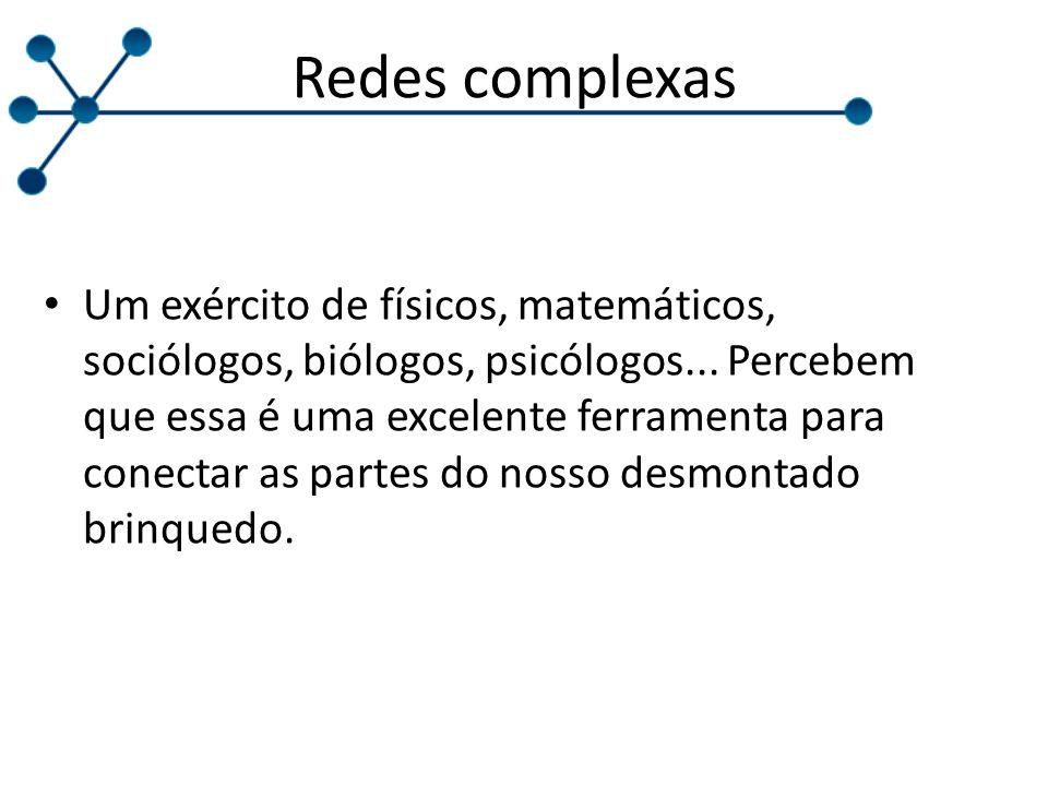 Redes complexas Um exército de físicos, matemáticos, sociólogos, biólogos, psicólogos...