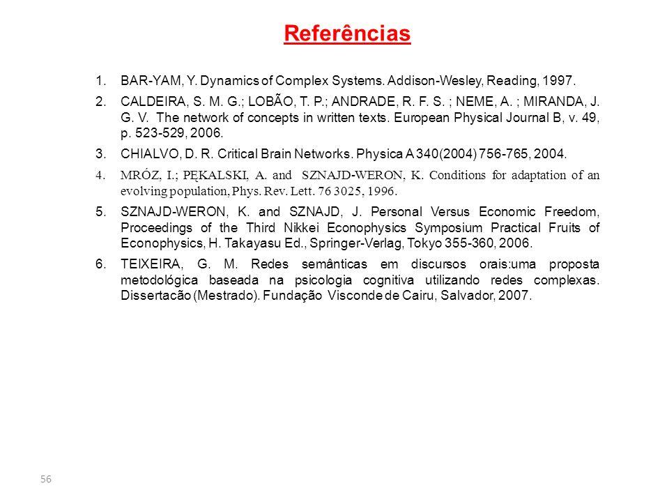 56 Referências 1.BAR-YAM, Y.Dynamics of Complex Systems.