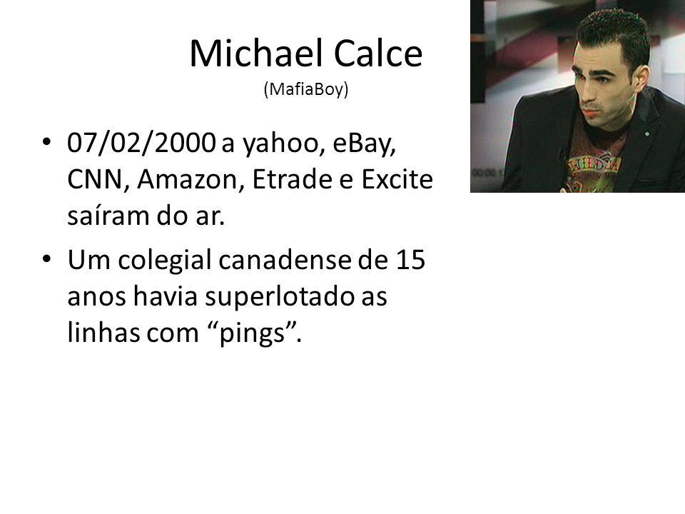 Michael Calce (MafiaBoy) 07/02/2000 a yahoo, eBay, CNN, Amazon, Etrade e Excite saíram do ar.