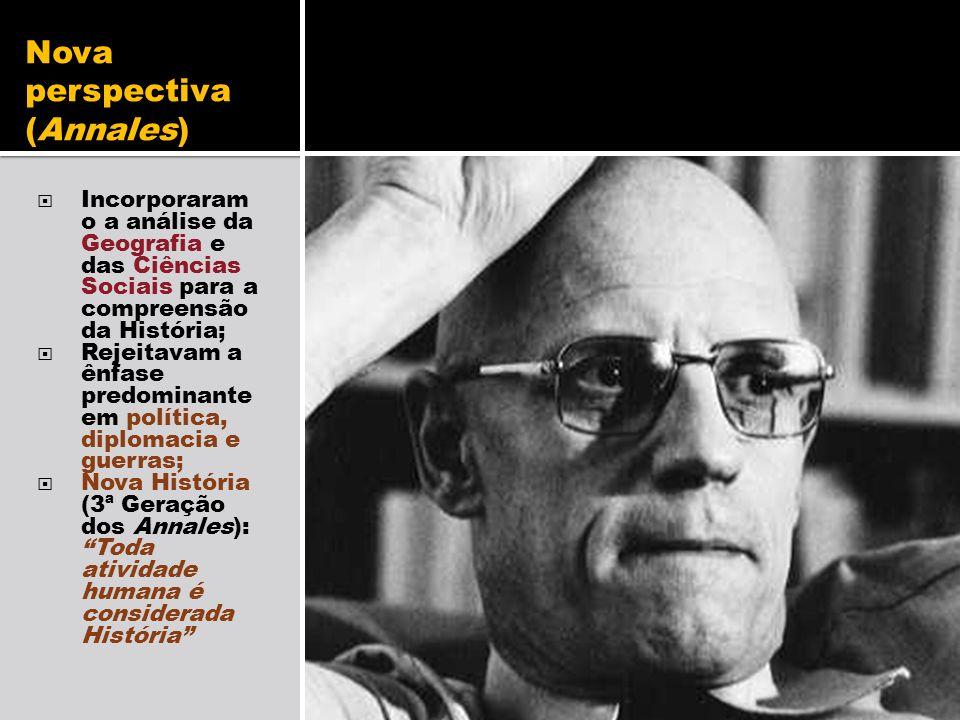 Nova perspectiva (Annales) Incorporaram o a análise da Geografia e das Ciências Sociais para a compreensão da História; Rejeitavam a ênfase predominan