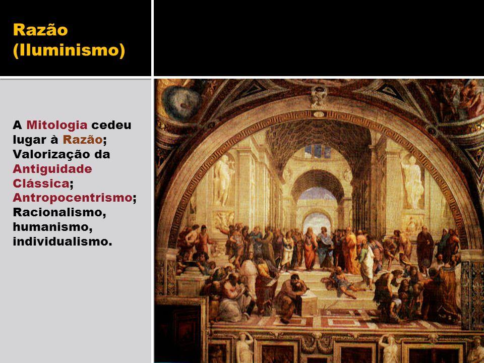 Razão (Iluminismo) A Mitologia cedeu lugar à Razão; Valorização da Antiguidade Clássica; Antropocentrismo; Racionalismo, humanismo, individualismo.