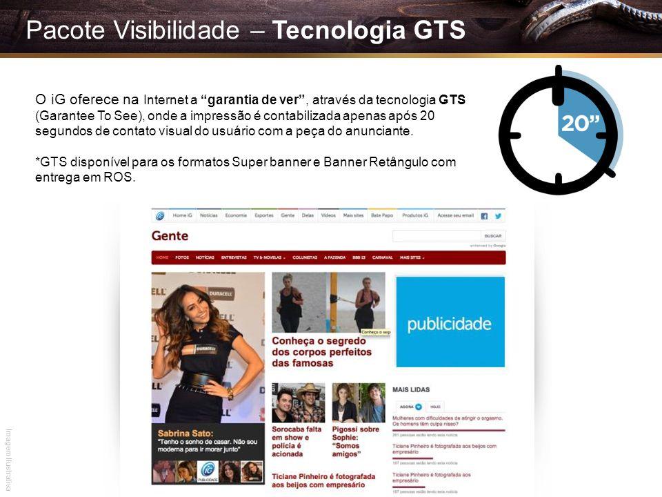 Pacote Visibilidade – Tecnologia GTS O iG oferece na Internet a garantia de ver, através da tecnologia GTS (Garantee To See), onde a impressão é conta