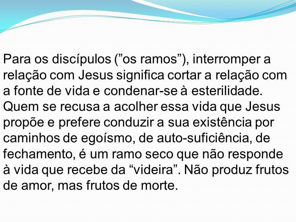 Para os discípulos (os ramos), interromper a relação com Jesus significa cortar a relação com a fonte de vida e condenar-se à esterilidade. Quem se re