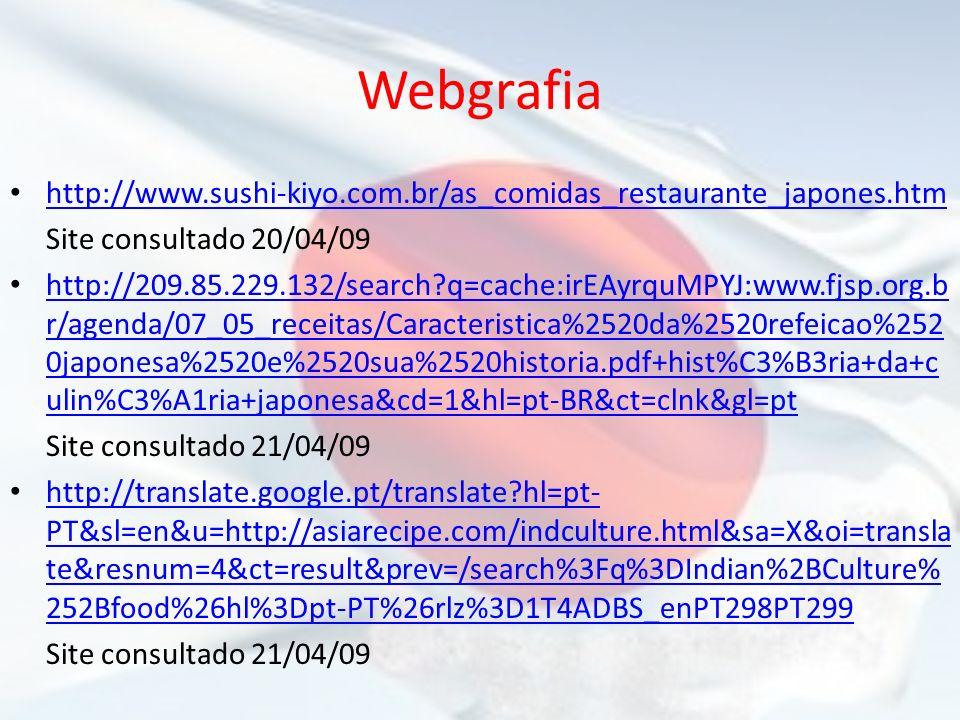 Webgrafia http://www.sushi-kiyo.com.br/as_comidas_restaurante_japones.htm Site consultado 20/04/09 http://209.85.229.132/search?q=cache:irEAyrquMPYJ:w
