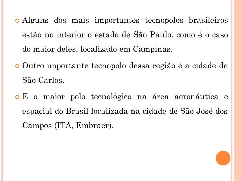 Alguns dos mais importantes tecnopolos brasileiros estão no interior o estado de São Paulo, como é o caso do maior deles, localizado em Campinas. Outr