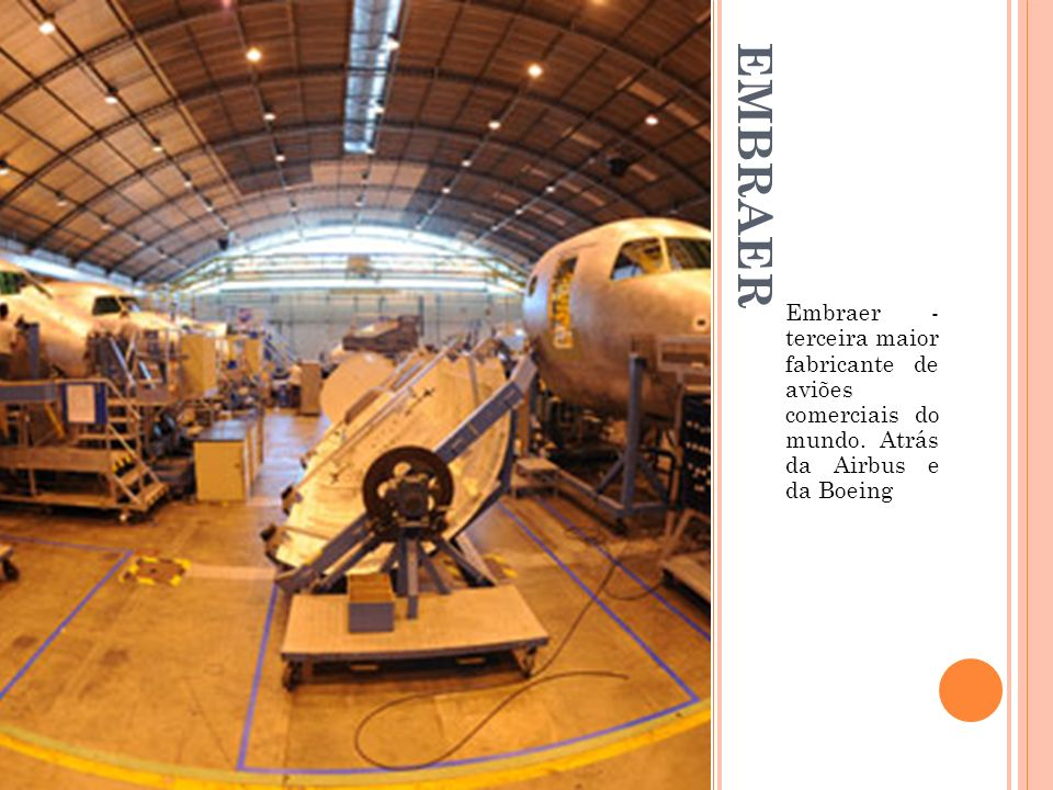 EMBRAER Embraer - terceira maior fabricante de aviões comerciais do mundo. Atrás da Airbus e da Boeing