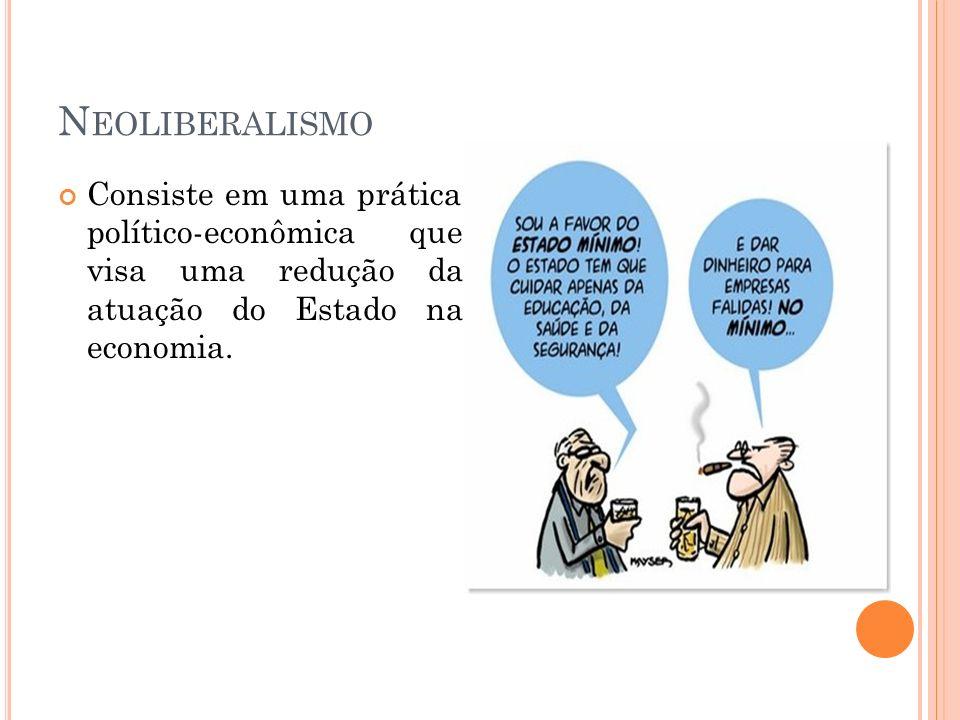 N EOLIBERALISMO Consiste em uma prática político-econômica que visa uma redução da atuação do Estado na economia.