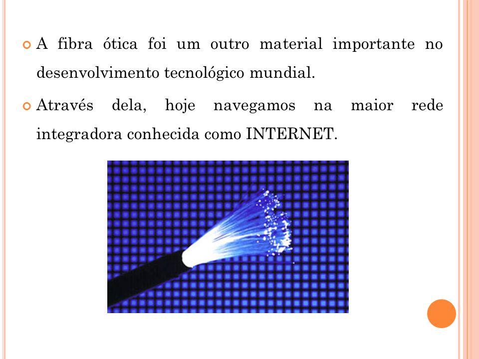 A fibra ótica foi um outro material importante no desenvolvimento tecnológico mundial. Através dela, hoje navegamos na maior rede integradora conhecid