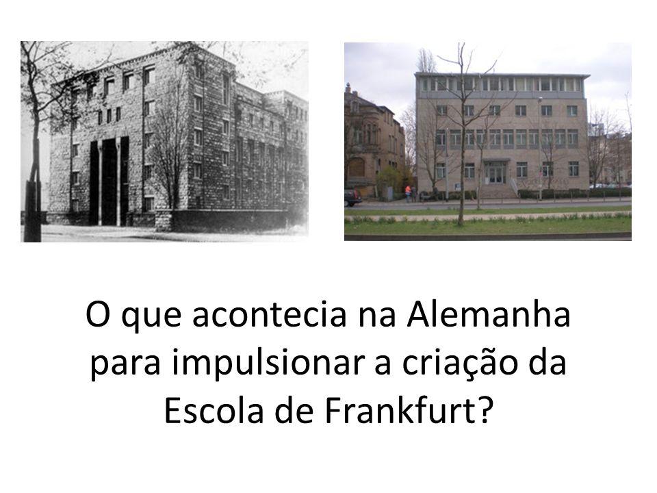 O que acontecia na Alemanha para impulsionar a criação da Escola de Frankfurt?