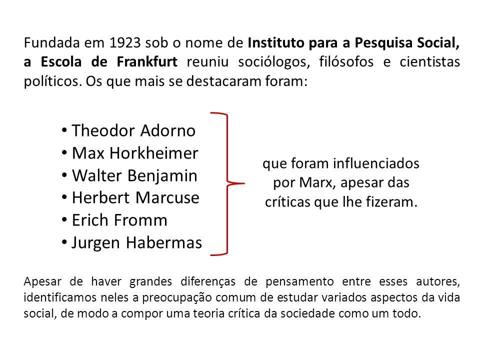 Fundada em 1923 sob o nome de Instituto para a Pesquisa Social, a Escola de Frankfurt reuniu sociólogos, filósofos e cientistas políticos.