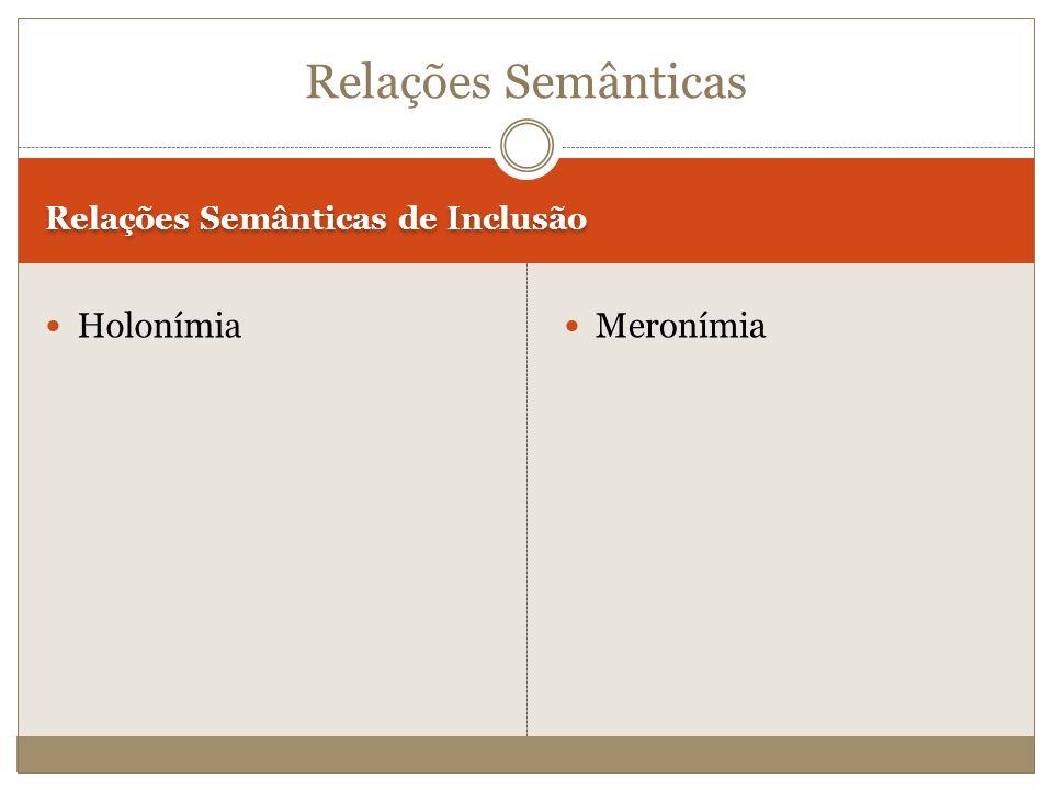 Relações Semânticas de Inclusão Holonímia Meronímia Relações Semânticas