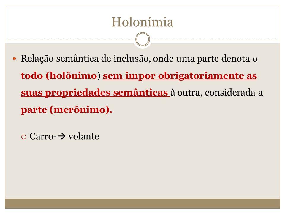 Holonímia Relação semântica de inclusão, onde uma parte denota o todo (holônimo) sem impor obrigatoriamente as suas propriedades semânticas à outra, c