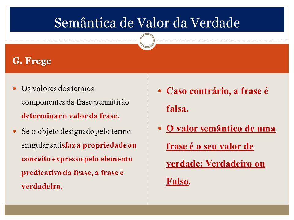 G. Frege Os valores dos termos componentes da frase permitirão determinar o valor da frase. Se o objeto designado pelo termo singular satisfaz a propr