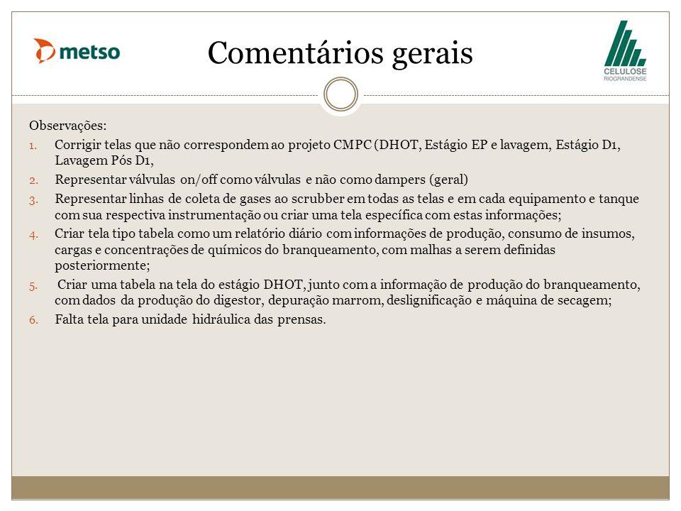 Comentários gerais Observações: 1. Corrigir telas que não correspondem ao projeto CMPC (DHOT, Estágio EP e lavagem, Estágio D1, Lavagem Pós D1, 2. Rep