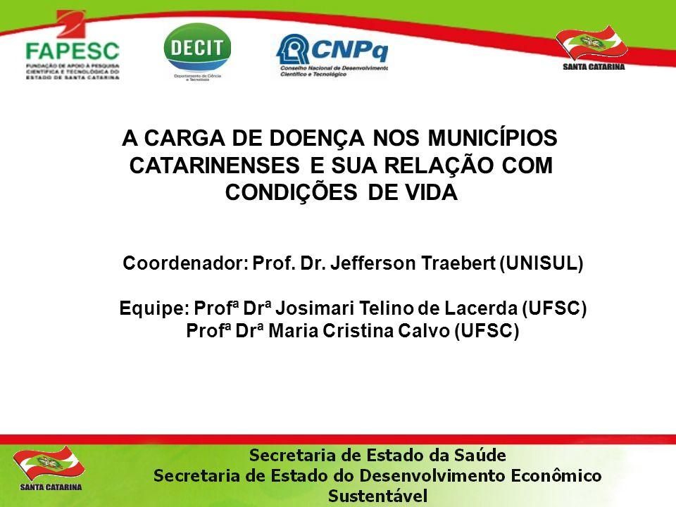 Coordenador: Prof. Dr. Jefferson Traebert (UNISUL) Equipe: Profª Drª Josimari Telino de Lacerda (UFSC) Profª Drª Maria Cristina Calvo (UFSC) A CARGA D