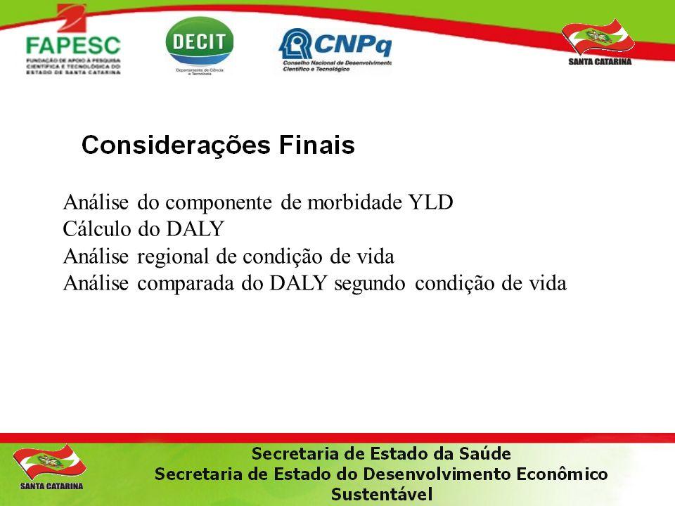 Análise do componente de morbidade YLD Cálculo do DALY Análise regional de condição de vida Análise comparada do DALY segundo condição de vida