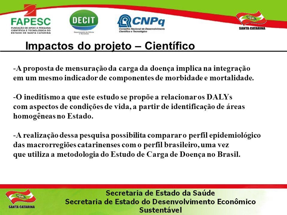 Impactos do projeto – Científico -A proposta de mensuração da carga da doença implica na integração em um mesmo indicador de componentes de morbidade