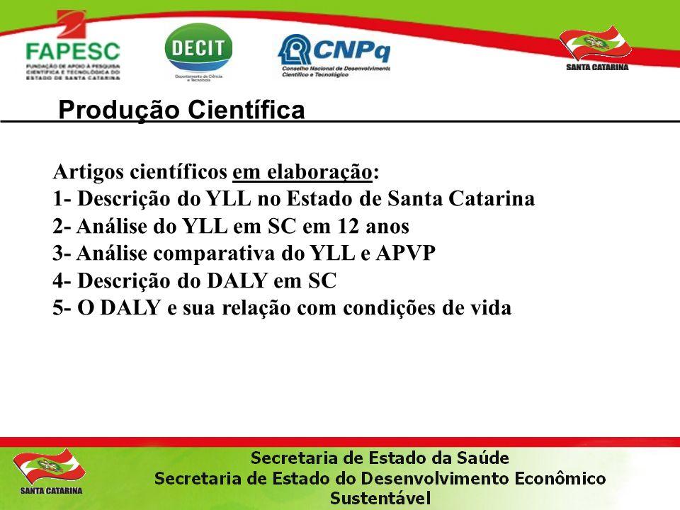 Produção Científica Artigos científicos em elaboração: 1- Descrição do YLL no Estado de Santa Catarina 2- Análise do YLL em SC em 12 anos 3- Análise c