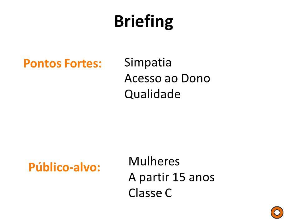 Briefing Pontos Fortes: Público-alvo: Simpatia Acesso ao Dono Qualidade Mulheres A partir 15 anos Classe C