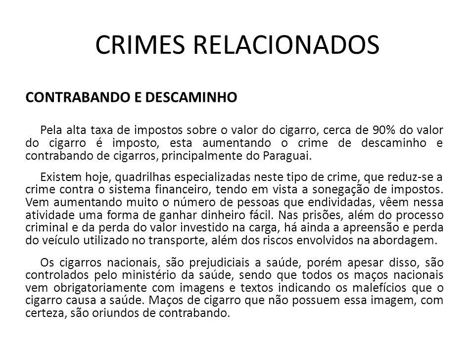 CRIMES RELACIONADOS CONTRABANDO E DESCAMINHO Pela alta taxa de impostos sobre o valor do cigarro, cerca de 90% do valor do cigarro é imposto, esta aum