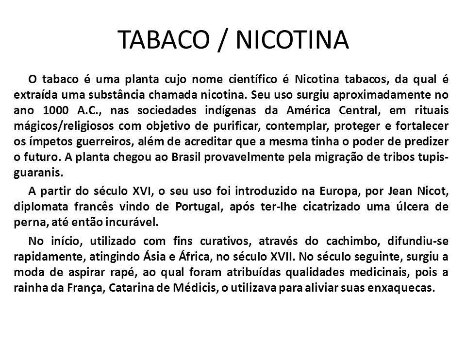 TABACO / NICOTINA O tabaco é uma planta cujo nome científico é Nicotina tabacos, da qual é extraída uma substância chamada nicotina. Seu uso surgiu ap