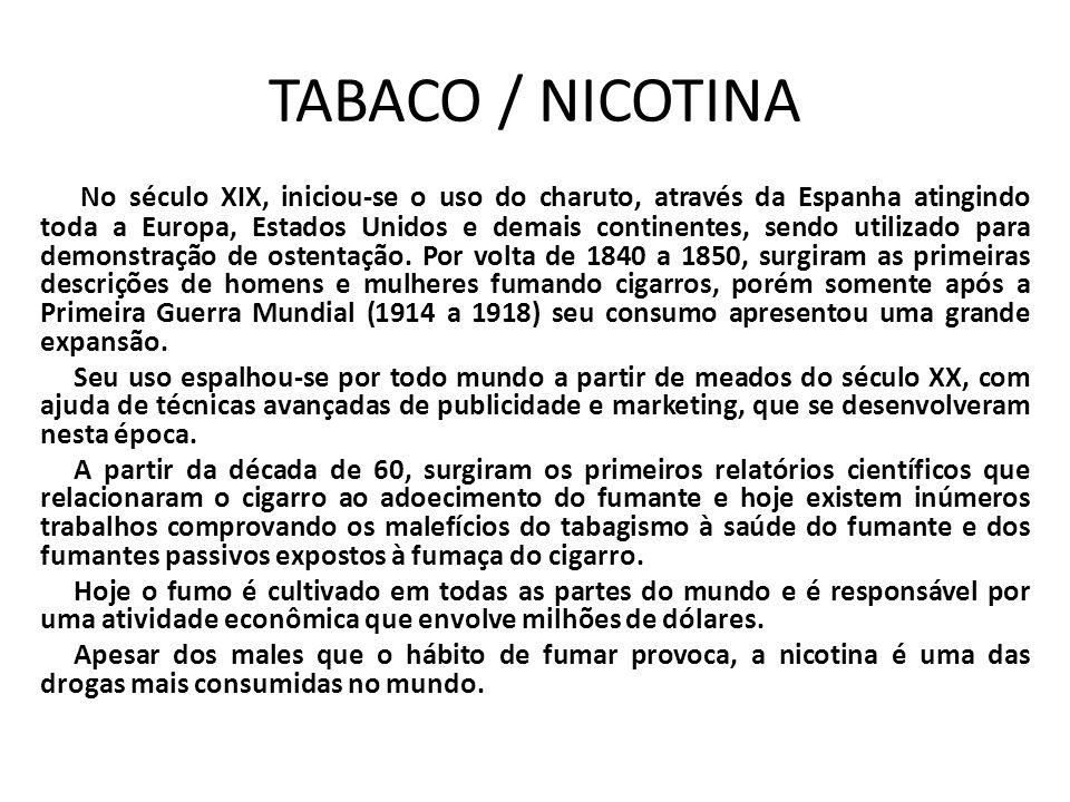 TABACO / NICOTINA No século XIX, iniciou-se o uso do charuto, através da Espanha atingindo toda a Europa, Estados Unidos e demais continentes, sendo u