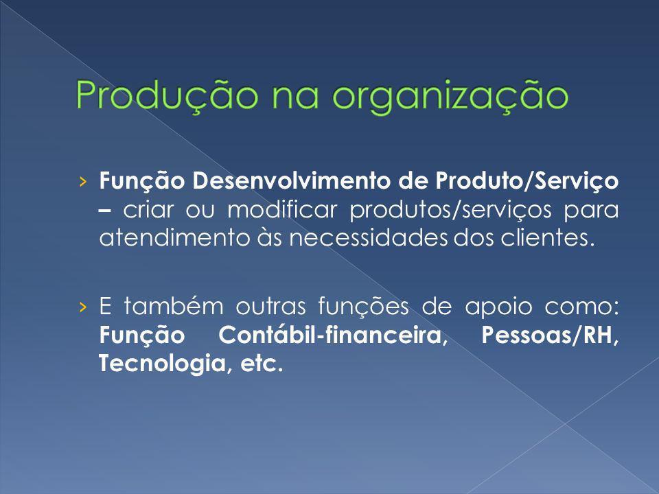 Função Desenvolvimento de Produto/Serviço – criar ou modificar produtos/serviços para atendimento às necessidades dos clientes.