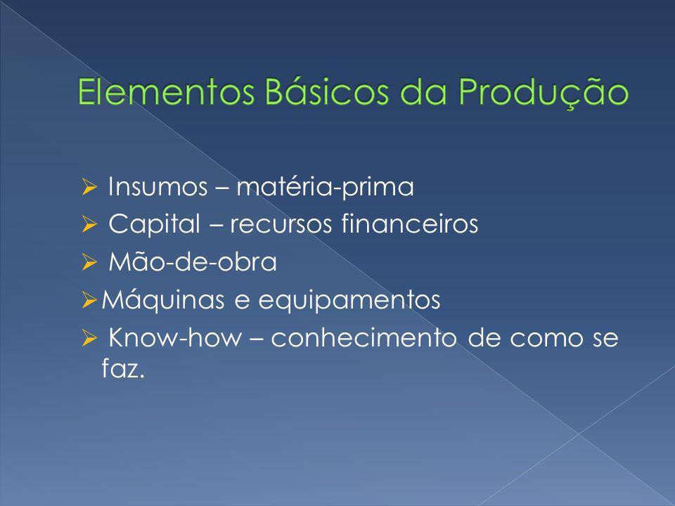 Insumos – matéria-prima Capital – recursos financeiros Mão-de-obra Máquinas e equipamentos Know-how – conhecimento de como se faz.