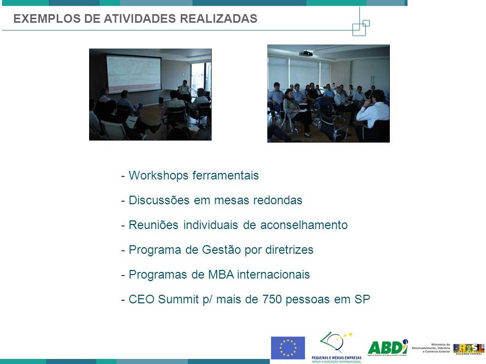 EXEMPLOS DE ATIVIDADES REALIZADAS - Workshops ferramentais - Discussões em mesas redondas - Reuniões individuais de aconselhamento - Programa de Gestã