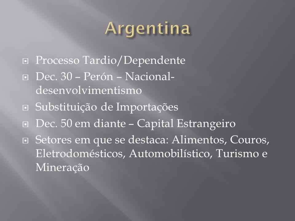 Processo Tardio/Dependente Dec. 30 – Perón – Nacional- desenvolvimentismo Substituição de Importações Dec. 50 em diante – Capital Estrangeiro Setores