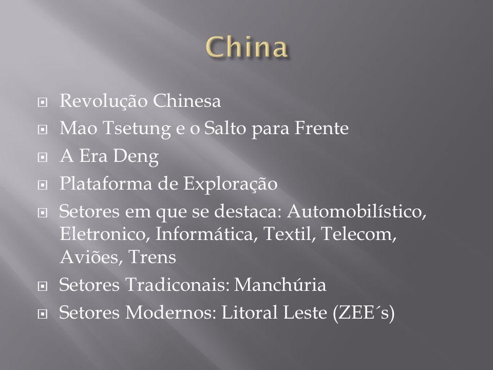 Revolução Chinesa Mao Tsetung e o Salto para Frente A Era Deng Plataforma de Exploração Setores em que se destaca: Automobilístico, Eletronico, Inform