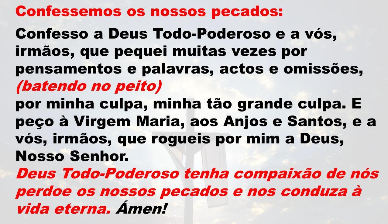 Confessemos os nossos pecados: Confesso a Deus Todo-Poderoso e a vós, irmãos, que pequei muitas vezes por pensamentos e palavras, actos e omissões, (b