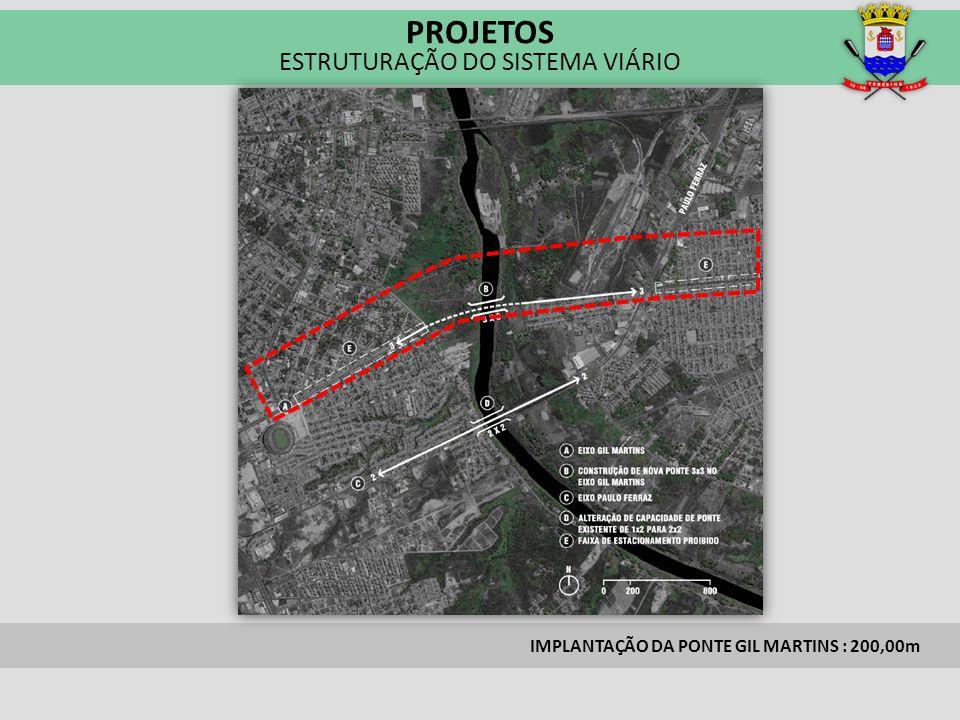 IMPLANTAÇÃO DA PONTE GIL MARTINS : 200,00m PROJETOS ESTRUTURAÇÃO DO SISTEMA VIÁRIO