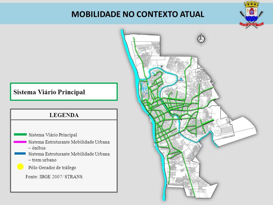 Pólo Gerador de tráfego Fonte: IBGE 2007/ STRANS Sistema Estruturante Mobilidade Urbana – ônibus Sistema Estruturante Mobilidade Urbana – trem urbano