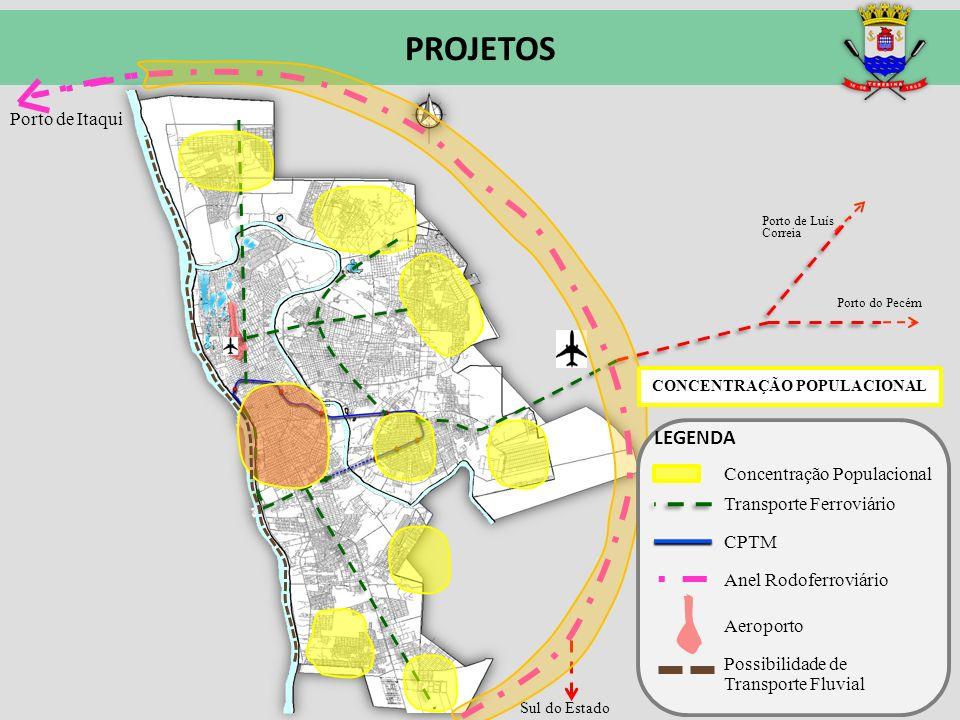 PROJETOS Porto de Itaqui Porto do Pecém Porto de Luís Correia Sul do Estado LEGENDA CONCENTRAÇÃO POPULACIONAL Concentração Populacional Transporte Fer